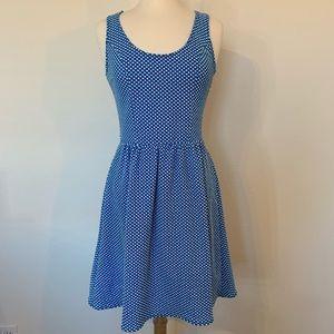 ANTHROPOLOGIE Maeve blue & white polka dot dress